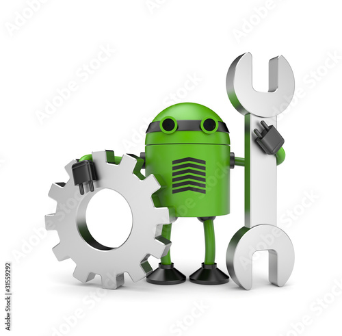 Photo Robot worker with gear