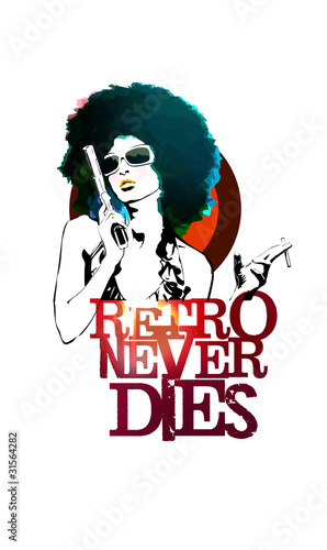 Fotobehang Vrouw gezicht Retro Never Dies