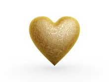 Gold Heart With Flower Pattern