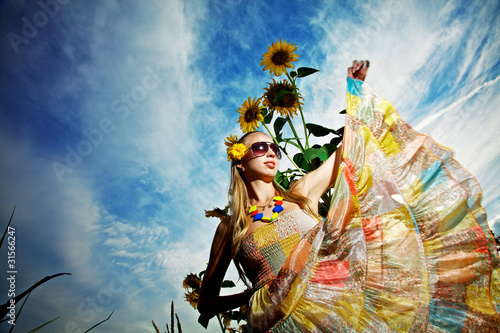 woman on a sunflowers background