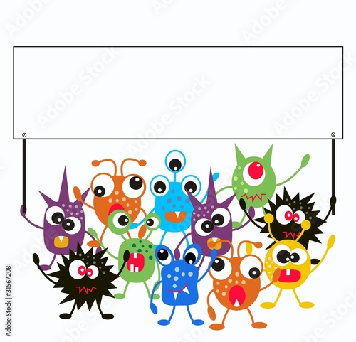 La pose en embrasure Creatures a group of monsters holding a placard