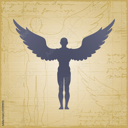 Canvastavla Winged man