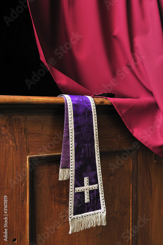 Photo confessional, cross, priest, religion