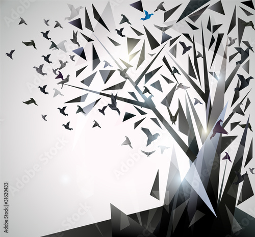 Poster Geometric animals Abstract Tree with origami birds.
