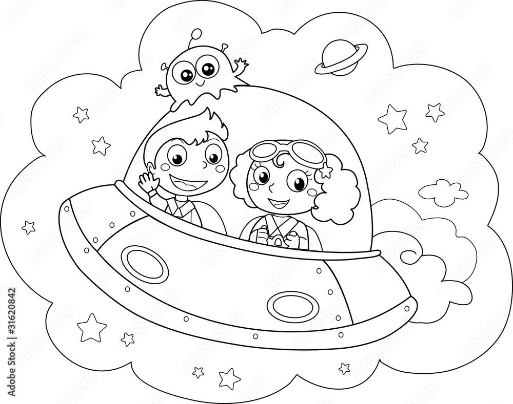 Miły prom kosmiczny pilotowany przez dzieci <span>plik: #31620842 | autor: carlafcastagno</span>