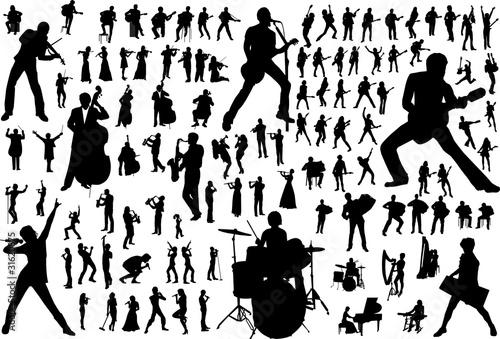 Tablou Canvas Music vector silhouettes