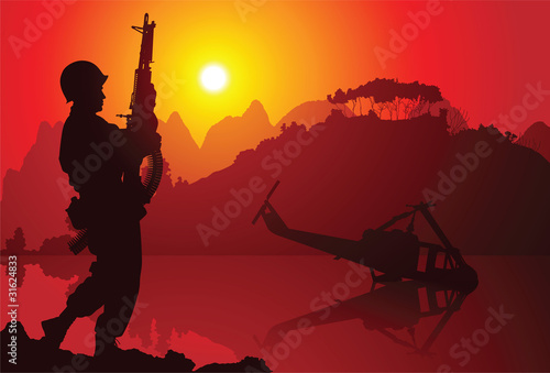 Poster Militaire Soldier with crashed helicopter on the background