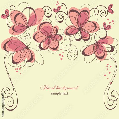 Tuinposter Abstract bloemen Romantic invitation floral panel