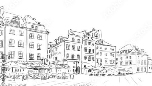 Foto auf AluDibond Gezeichnet Straßenkaffee sketch illustration