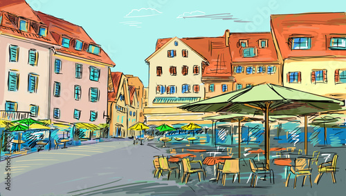 Foto auf AluDibond Gezeichnet Straßenkaffee drawn illustration to the old town