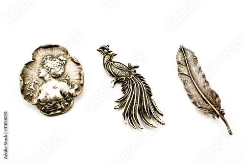 Foto Three antique silver brooches