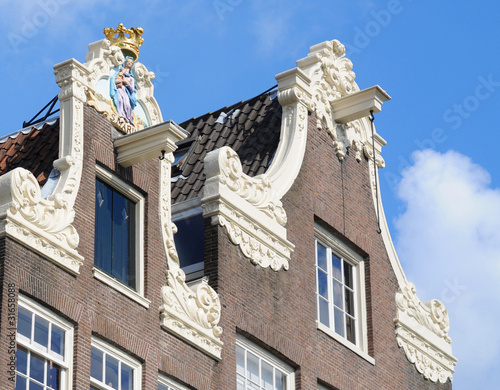 Photo  Dutch gable houses, Madonna, beguinage, Amsterdam
