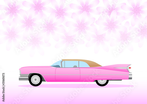 Fotomural Pink car with pink flowers