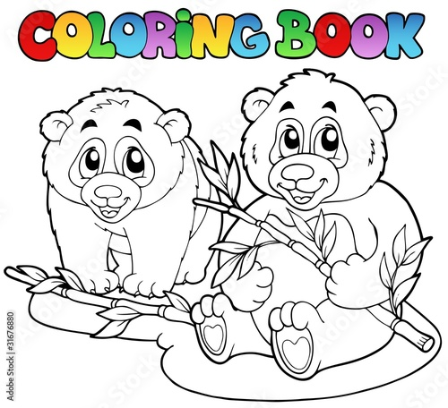 Tuinposter Doe het zelf Coloring book with two pandas