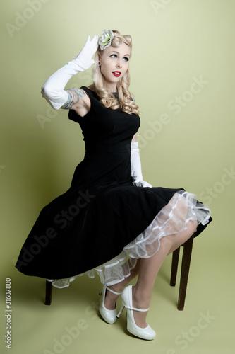 Fotografie, Tablou Pinup Girl Modeling Hair Flower