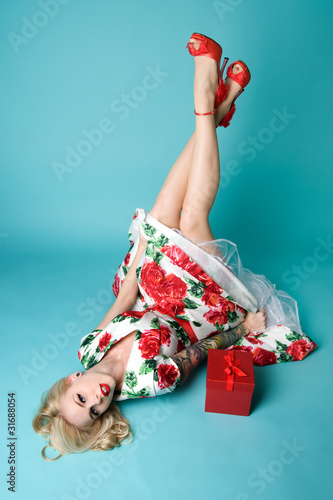 Fotografie, Obraz  Christmas Pinup Girl