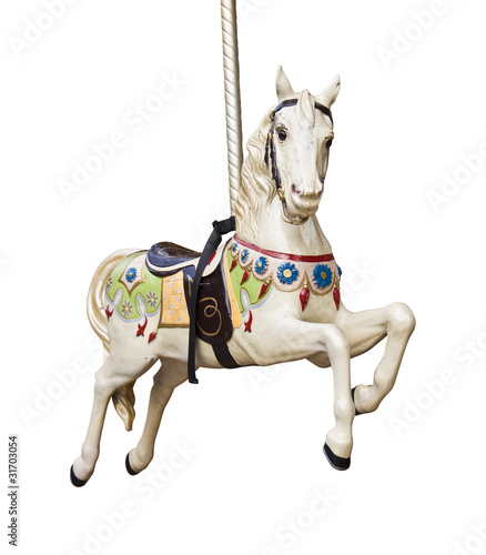 Fotografie, Obraz  Cheval de bois sur un carrousel, fond blanc