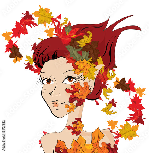 Photo Stands Floral woman autumn girl