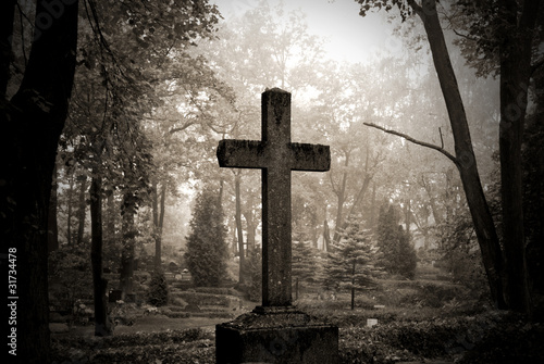 Spoed Foto op Canvas Begraafplaats cross in fog at the cemetary
