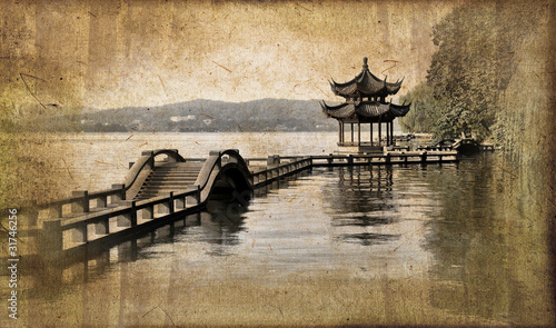 Fototapeta premium Lac d'Hangzhou, styl vintage - Chiny