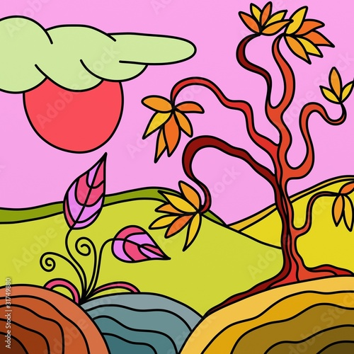 Spoed Fotobehang Klassieke abstractie paesaggio astratto