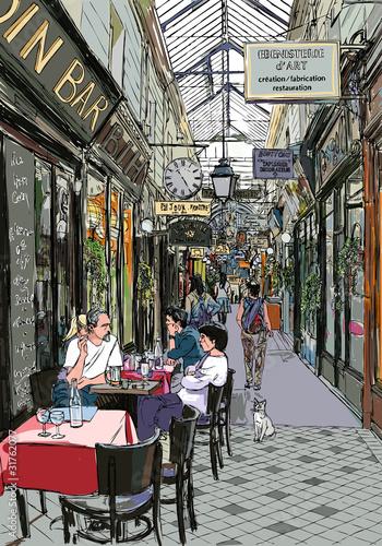 Foto auf AluDibond Gezeichnet Straßenkaffee passage in Paris