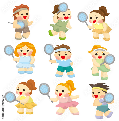 Printed kitchen splashbacks Illustrations cartoon Tennis Players icon