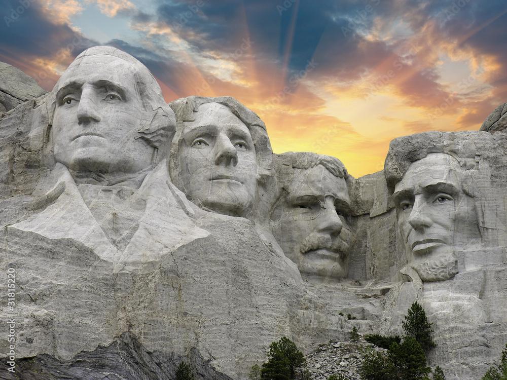 Fototapety, obrazy: Sunset over Mount Rushmore, South Dakota, U.S.A.