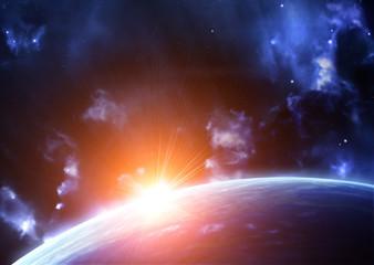 Fototapeta kosmiczny pomarańczowy błysk
