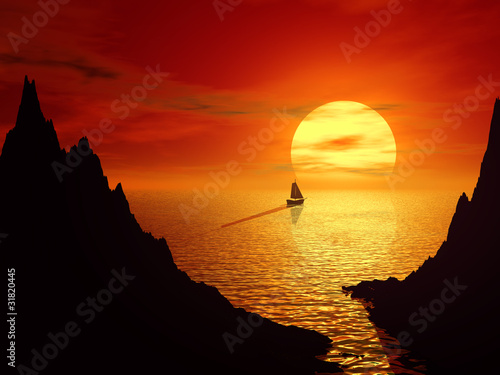 Poster Chocolate brown Sunset and sailboat in sea 3d landscape