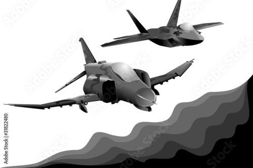 Spoed Foto op Canvas Militair two military aircraft