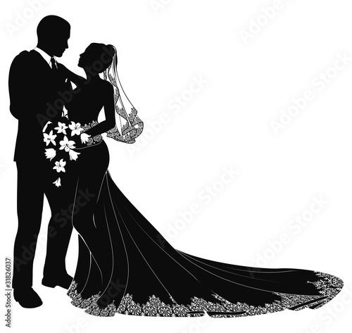 Fotografia, Obraz Bride and groom silhouette