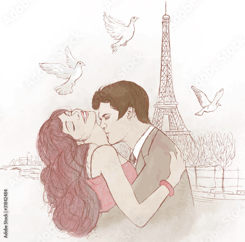 Deurstickers Illustratie Parijs couple kissing in Paris