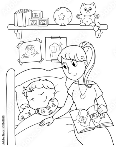 Śpiące dziecko z mamą