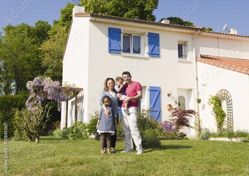Famille Devant La Maison Buy This Stock Photo And Explore Similar Images At Adobe Stock Adobe Stock