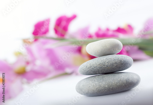 Fototapety, obrazy: spa stones with flower