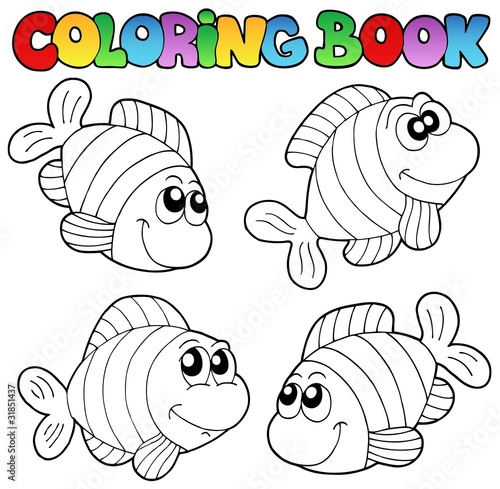 Tuinposter Doe het zelf Coloring book with striped fishes