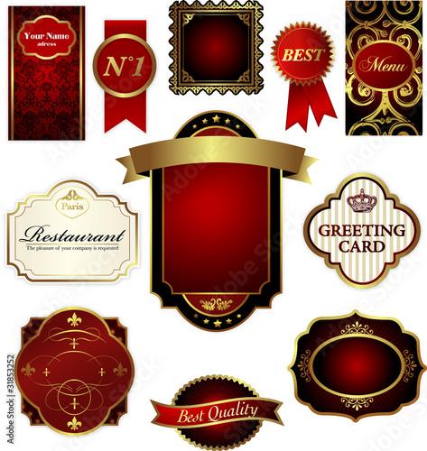Etiquettes or et rouge Canvas-taulu