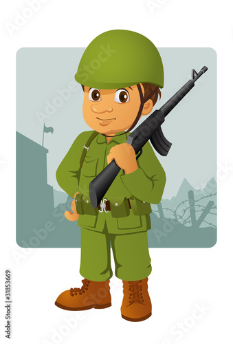 Poster Militaire military man with his rifle