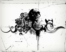 Vector Grungy Floral Illustration With Scull
