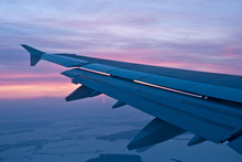 Airplane Wing, Sunset