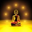 canvas print picture - Sieben Lichter für den goldenen Buddha