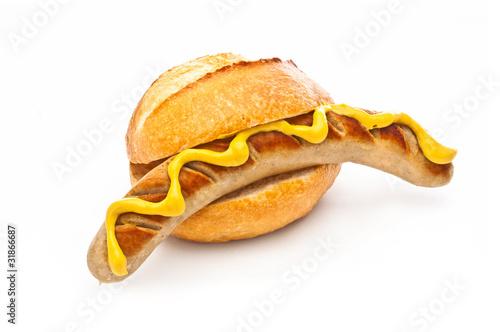 Fototapeta Bratwurst  mit Brötchen obraz