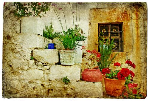 stare-wioski-grecji-artystyczny-styl-retro