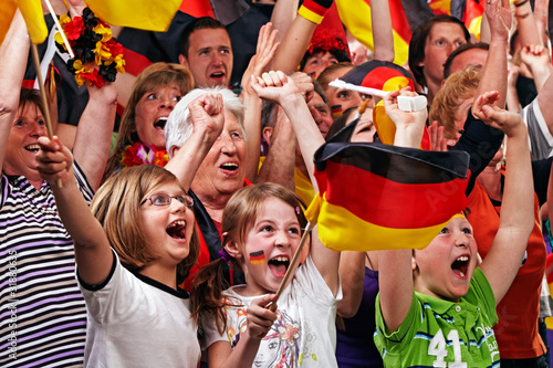 Photo  young and aged german soccer fans