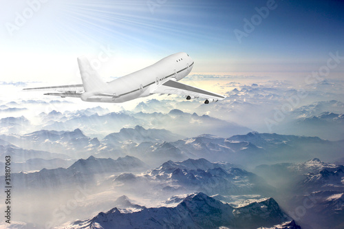 Tela Boeing 747 flying above the clouds in the sky