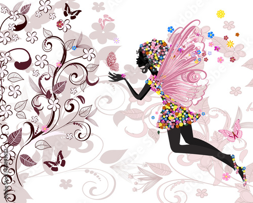 Poster Floral woman fairy pattern