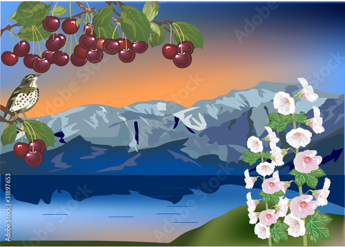 Wall Murals Birds, bees bird on cherry branch and mountain landscape