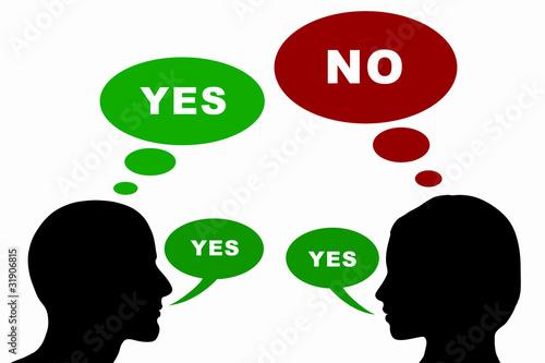 Fotografie, Obraz  Mann und Frau Konzept - Yes / No