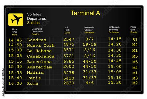 Valokuva  Panel informativo de salidas en el aeropuerto